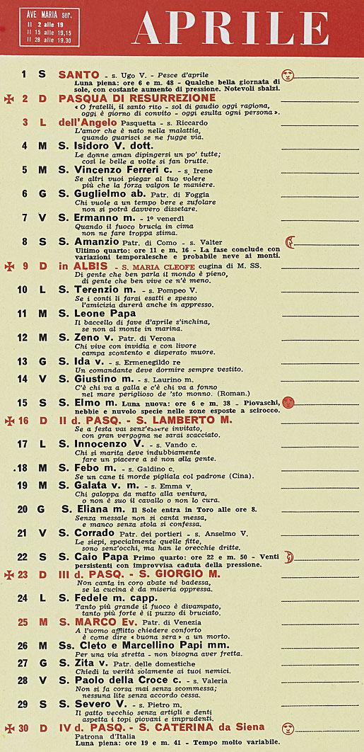 Calendario Del 1961.Calendario Aprile 1961 Ikbenalles