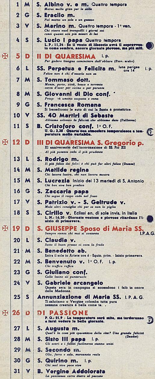 Calendario 1950.Correva L Anno 1950 Lunario Del Cappuccino