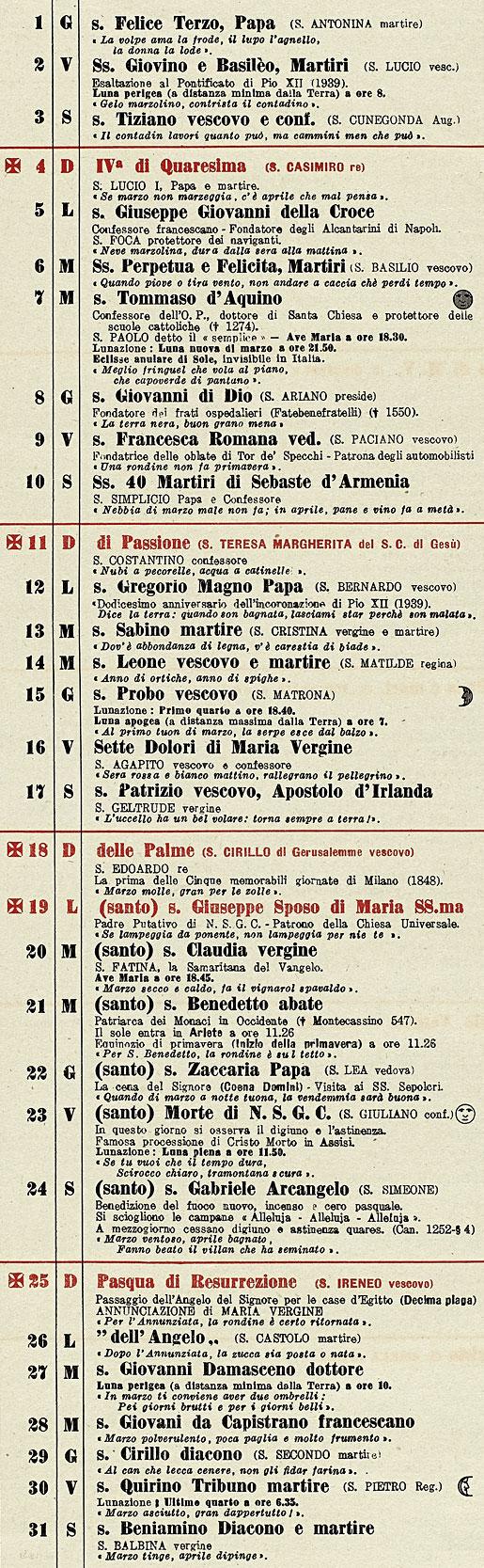 Calendario 1951.Correva L Anno 1951 Lunario Del Cappuccino