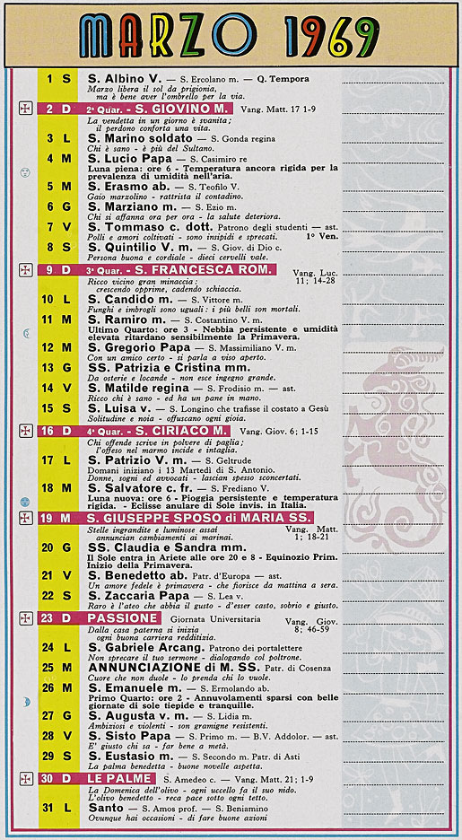 Calendario Anno 1992.Correva L Anno 1969 Mondo Comico